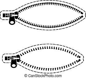 vector zipper black symbols
