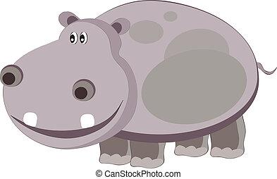 vectors illustration shows a gray hippopotamus