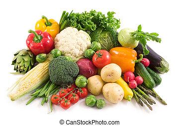 Harvest. Fresh vegetables isolated on white
