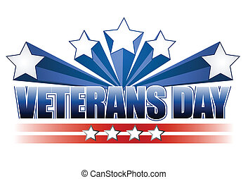 Veterans day logo illustration isolated over a white background.