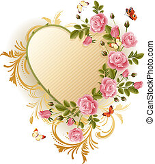 Vector illustration - Frame in the Victorian style, with roses and butterflies