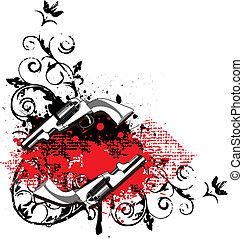 Grunge angular vignette with two guns