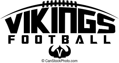 vikings football team design with laces and helmet for school, college or league