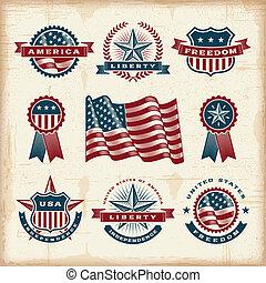 Vintage American labels set