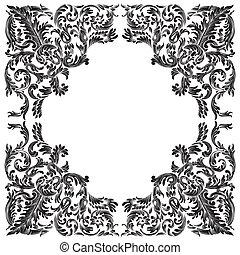 baroque frame on white background