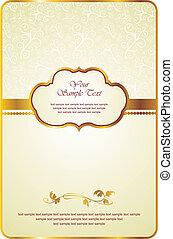 vintage card with gold emblem