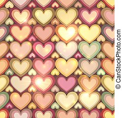 Vintage colors hearts vector seamless pattern