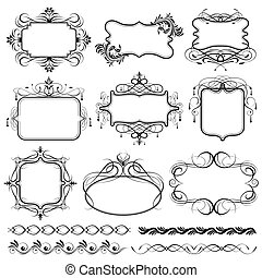 illustration of set of vintage design elements for frame