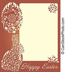 Vintage Easter frame with bunny and