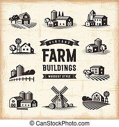 Vintage Farm Buildings Set