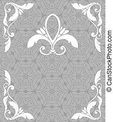 Vintage filigree frame and seamless pattern