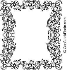 Vintage Filigree Frame Border Pattern Scroll Leaf