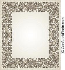 Vintage filigree frame with floral patterns