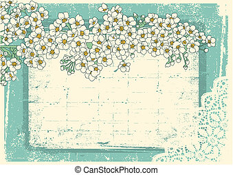 Vintage floral background with grunge decor frame for text