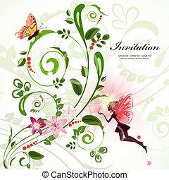 Vintage floral border for your design