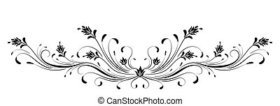 Vintage floral ornament for greeting card isolated on white background