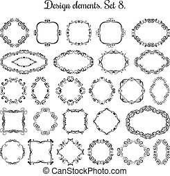 Vintage floral victorian frames. Vector medieval style flourish round and border for wedding cards design collection
