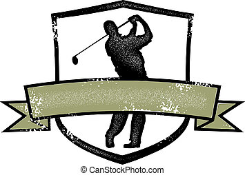 Vintage Golf Player Crest