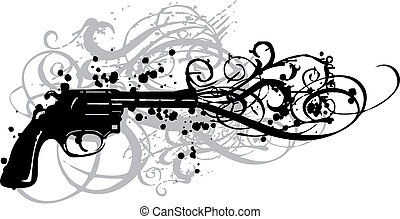 vintage gun with grungy swirls, vector