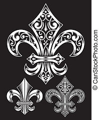 fully editable vector illustration of vintage fleur de lis in set, suitable for design elements, insignia, emblem, badge, tattoo or logo