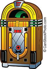 Cartoon Illustration of a Vintage Antique Jukebox