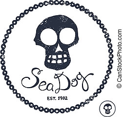 Vintage style nautical skull and text design