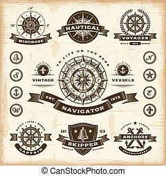 A set of fully editable vintage nautical labels and badges in woodcut style. EPS10 vector illustration.