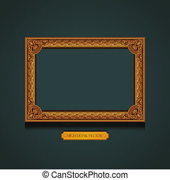 Vintage Picture Frame on the wall. Floral pattern wallpaper
