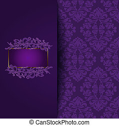 vintage background with a purple ornament and place for the text