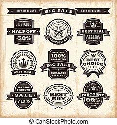Vintage sale labels set