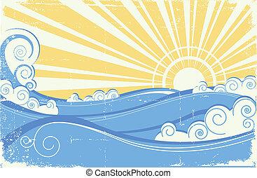 Vintage sea waves. Vector illustration of sea landscape with sun