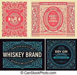 Vintage set of labels