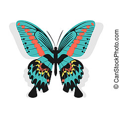 Vintage single colorful butterfly isolated on white background w
