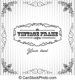 Vintage striped background with frame and place for your text.