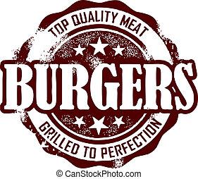Vintage style Hamburger Menu Stamp