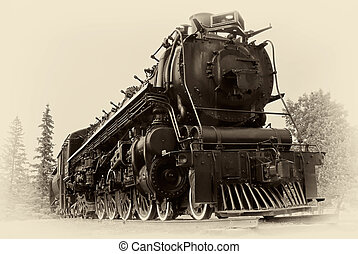 """A """"4-8-4"""", or """"Northern"""" type steam train engine built by """"The Montreal Locomotive Works"""" for Canadian National Railways in 1942. The photographic style simulates a vintage, early 20th century / late 19th century images."""