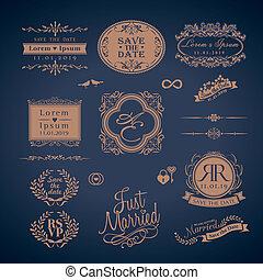 Vintage Style Wedding Monogram border and frames