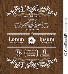 Vintage typography Wedding invitation design template on wooden background