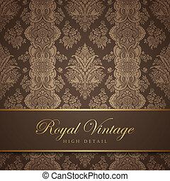 Vintage wallpaper design. Flourish background. Floral pattern. Wedding card classic vector design template. Editable.