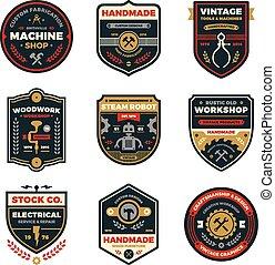 Vintage workshop badges
