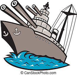 Illustration of a warship battleship boat ship with big guns viewed from a low angle cartoon style.