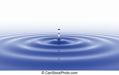 blue water drop and white background