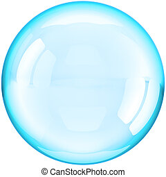 Soap Bubble ball translucent colored cyan blue. This is a detailed three-dimensional render 3d (Hi-Res). Isolated on white background