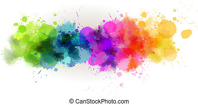 Background with multicolored watercolor line
