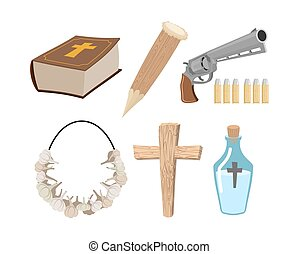 Weapons vampire hunter. Tools against undead. Garlic and silver bullets. Bible and holy water. Aspen stake and cross. Set to kill vampires