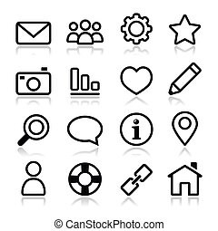 Glossy black icons for web navigation isolated on white