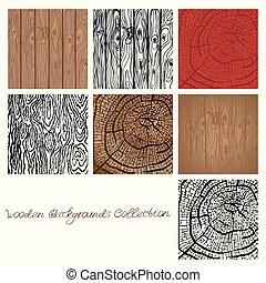 Webwooden backgrounds collection vector illustration. wood texture elements for design
