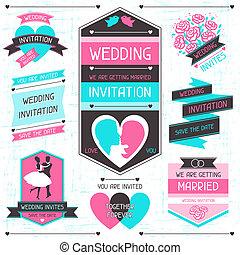 Wedding invitation retro set of design elements.