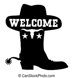 Welcome to Texas vector black graphic sign illustration with cowboy boot sihouette and western hat isolated on white
