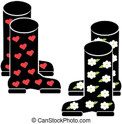 Wellies on white background